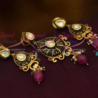 Blackish Enamel Matte Finish Low Price Kundan Pendant Earrings Shop Online