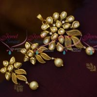Kundan Pendant Earrings Antique Matte Gold Plated Fashion Jewellery Collections Online