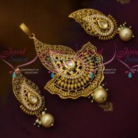 Lightweight Dull Matte Gold Pendant Earrings Kundan CZ Stones Antique Fashion Jewellery Online