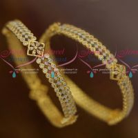 American Diamond Two Tone Gold Silver Finish White Stone Bangles Shop Online
