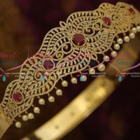 AD Ruby White Vaddanam Oddiyanam 39 Inches Adjustable South Indian Traditional Jewellery Designs Online