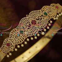 AD Ruby Green White Vaddanam Oddiyanam 39 Inches Adjustable South Indian Traditional Jewellery Designs Online