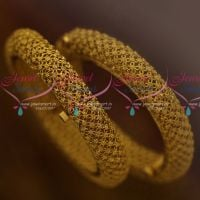 Screw Open Broad Heavy Matte Antique Floral Design Handmade Bangles Shop Online Gold Plated Jewellery