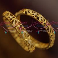 American Diamond 2 Pieces Set Gold Finish Ruby White Bangles Shop Online