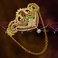 AD Jewellery Belt Vanki Bajuband Latest Adjustable Ruby Green White Stones Gold Plated Ethnic Designs