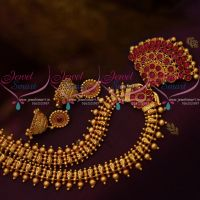 Gheru Gold Plated Kemp Pendant Screw Back South Indian Jhumka Haram Antique Necklace