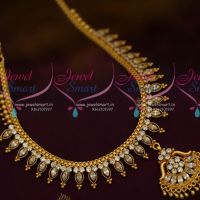 AD White Marquise Stones Flexible South Indian Handmade Gold Finish Jewellery Set Shop Online