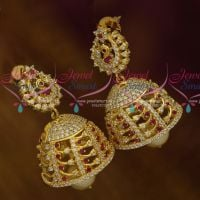 AD Fashion Jewellery Peacock Ruby White Jhumka Earrings Latest Collections Shop Online
