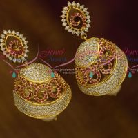 AD Fashion Jewellery Curve Shape Stylish Medium Size Jhumka Earrings Partywear Ruby White Online