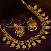 Red Kemp Broad Link Mango Design Matte Gold Real Look Short Necklace Latest Imitation Jewellery Collections