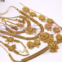 Antique Bridal Matte Temple Nakshi South Indian Gold Finish Wedding Dulhan Jewellery Full Set Latest Collections