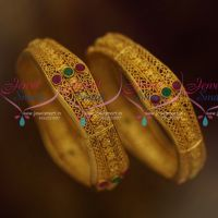 Brass Metal Handmade Light Weight Floral Design One Gram Gold Finish Bangles 2 Pieces Set