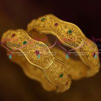 Brass Metal Handmade Light Weight Floral Design One Gram Gold Finish Broad Bangles 2 Pieces Set