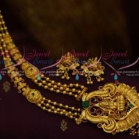 Beads Model Gold Look One Gram Temple Traditional Jewellery Design Medium Haram Necklace Online