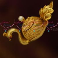 One Gram Gold Plated Kumkum Barina Kunguma Chimizh Sindoor Box Peacock Design Traditional