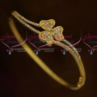 Small Size Floral Stylish Curve Shape Clip Open Kada Latest AD Stones Fashion Jewellery Online