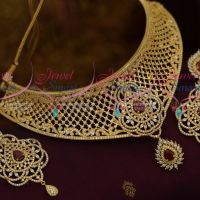 AD Ruby White Colour Stones Jewellery White Choker Long Size Earrings Buy Online