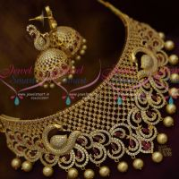 Rich Look Bridal Jewellery Peacock Multi Ruby White AD Choker Party Wear Collections Online