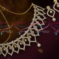 Two Tone Stylish Trendy Jewellery Necklace AD White Pearl Link Design AD Stones Online