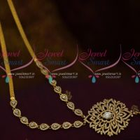 South Indian Imitation AD Jewellery Medium Haram Full White Stones Low Price Collections