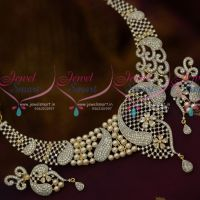 Latest Pearl AD Blended Design Two Tone AD Jewellery Fashion Collections Online