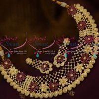 Broad Rich Look Floral Design Ruby White Stones Fashion Jewellery Necklace Online