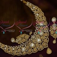 Broad Diamond Finish Look Floral Design AD Stones Fashion Jewellery Necklace Online