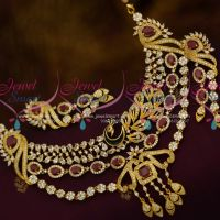 Double Step Layer Necklace Latest Trendy Peacock AD Fashion Gold Design Jewellery Collections