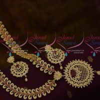 Broad 20 Inches Length Flexible Haram AD Ruby White Stones Grand Bridal Jewellery Designs Online