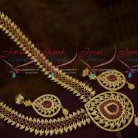 Broad Double Mango Haram AD Ruby White Stones Grand Bridal Jewellery Designs Online