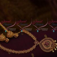 Full Ruby Ruby Pearl Drops Pendant Fashion Haram Semi Precious Collections Jhumka Earrings