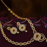 AD Red White Colour Stones Small Size Rich Look Fashion Jewellery Set Shop Online