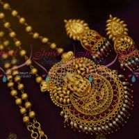 Ball Chain Kemp Red Pendant Double Layer Bead Drops Gold Finish Ethnic Jewellery Collections Online