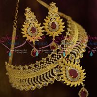 Matte Light Gold Plated Polki Ruby AD Beautiful Imitation Choker Jewellery Designs Online