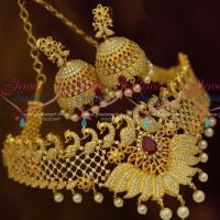 Peacock Stacked Design Ruby White Premium Imitation Jewellery Choker Collections Online