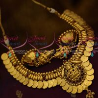 Temple Jewellery Kasumala Short Necklace Laxmi God Pendant Latest Traditional Designs Online