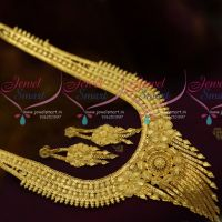 Broad Grand Design Light Gold Plated Matte Finish Fashion Jewellery Haram Online