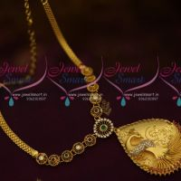 Peacock 3D Pendant AD Chain South Indian Handmade Imitation Jewellery Online