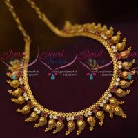 South Indian Handmade Fashion Jewellery Mango Design Ruby White AD Necklace