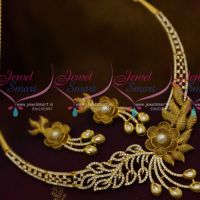 Rich Look Fusion Jewellery Matte Antique Floral Stylish Design American Diamond Stones Shop Online