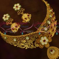 Handcrafted Matte Rich Look Choker Beautiful Screw Jhumka Kundan Fashion Jewellery Designs Online
