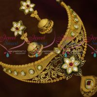 Handcrafted Kundan Fashion Jewellery Latest Choker Beautiful Screw Jhumka Designs Online