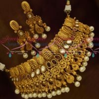 Antique One Gram Jadau Kundan Handmade Rich Look Wedding Jewellery Choker Online