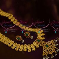 One Gram Gold Broad Nakshi Handmade Jewellery Haram South Indian Traditional Peacock Designs Online