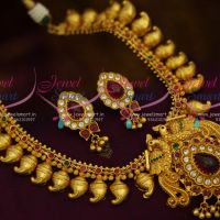 Peacock Model Pendant Mango Chain One Gram Traditional Jewellery Design Short Necklace Online