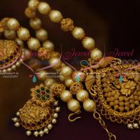 Pearl Temple Jewellery Matte Gold Antique Beaded Nagas Design Broad Jhumka Collections Online