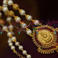 Shell Pearls Jewellery Beaded Gold Plated Floral Cap Traditional Kemp Temple Pendant Set Online
