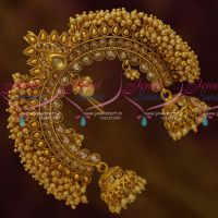 Pearl Danglers Veni U Pin Jhumka Design Jada Billa Antique Gold Plated Bridal Jewellery Online