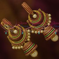 Ruby Emerald Big Size Bali Stud Double Step Jhumka Drops Latest Party Wear Jewellery