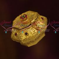 Floral Nakshi Work Ruby Emerald Stones Kumguma Chimil Sindoor Box Small Size Online